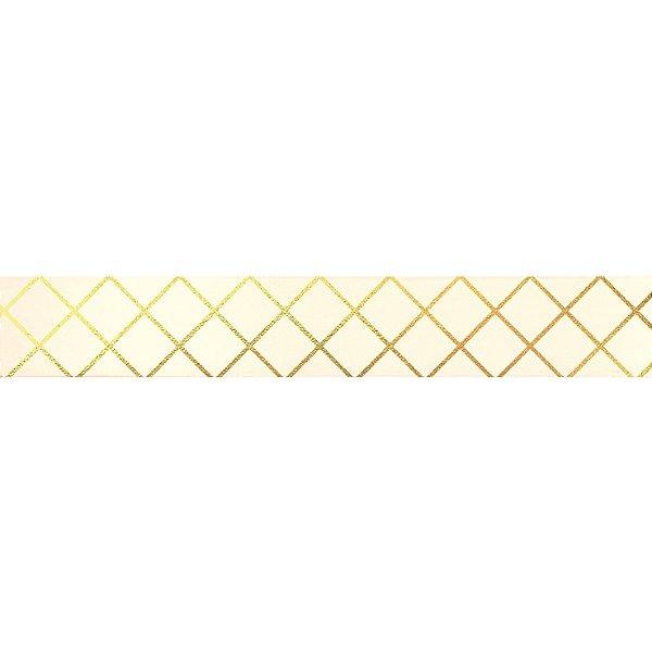 Fita de Cetim Decorada Hot Stamping Elegance Marfim 22mm - 10 metros - 1 unidade - Cromus