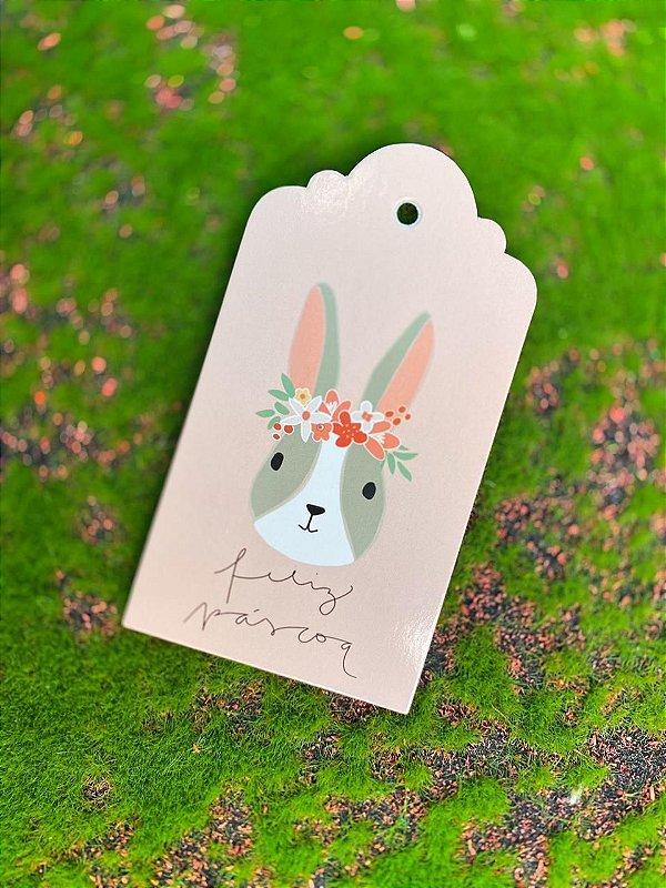 Tag Decorativa Páscoa Coelha Cinza - 05 unidades - Rizzo Embalagens