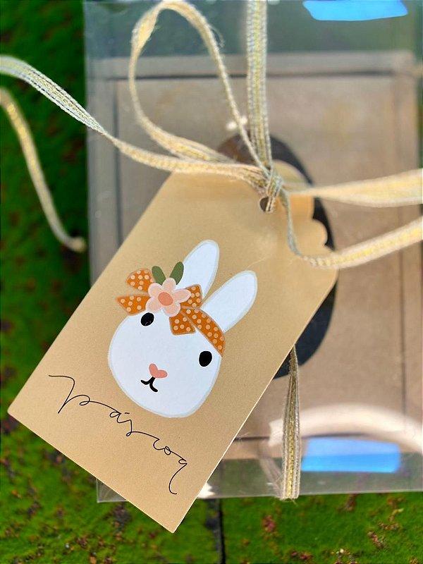 Tag Decorativa Páscoa Bege Coelha - 05 unidades - Rizzo Embalagens