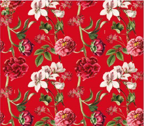 Saco Presente 50x70cm Botânica Vermelho - 25 unidades - Cromus - Rizzo Embalagens
