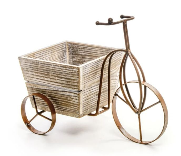 Triciclo com Cachepot de Madeira e Metal - Cromus - Rizzo Festas