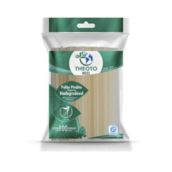 Palitos para Pirulito Biodegradável - Médio - 100 unidades - Theoto - Rizzo Embalagens