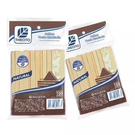 Palitos de Madeira Ponta Quadrada - 100 unidades - Theoto - Rizzo Embalagens