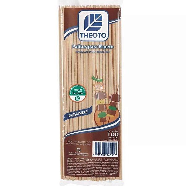 Palitos de Madeira para Espetos Grande - 100 unidades - Theoto - Rizzo Embalagens