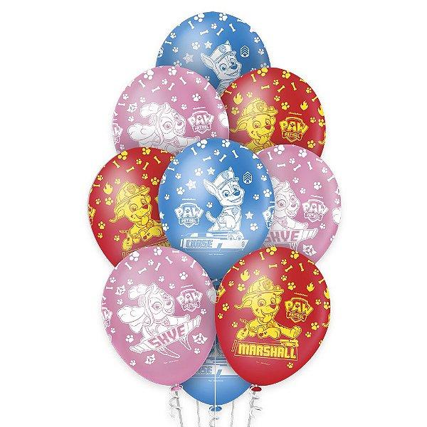 """Balão de Festa Patrulha Canina 12"""" - 10 unidades - Regina - Rizzo Embalagens"""