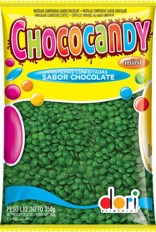 Pastilhas Confeitadas Sabor Chocolate Mini Verde 350g - Dori Alimentos - Rizzo Embalagens
