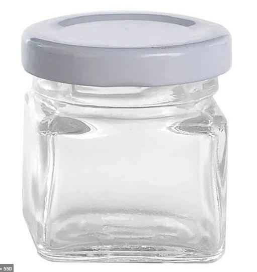 Mini Pote de Vidro Quadrado 50ml com Tampa de Metal Branca - 01 unidade - Rizzo