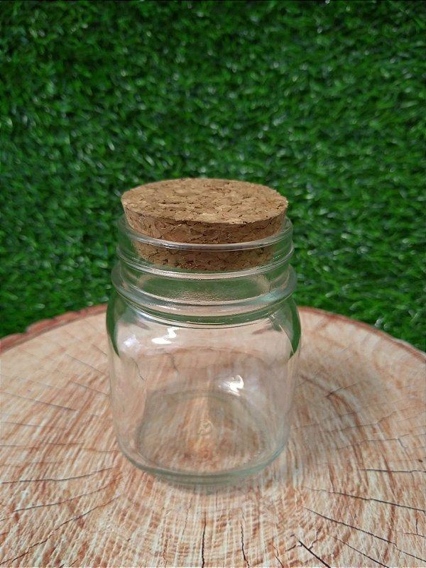 Pote de Vidro Quadrado Arredondado com Tampa de Rolha - 215ml - 01 unidade - Rizzo Embalagens