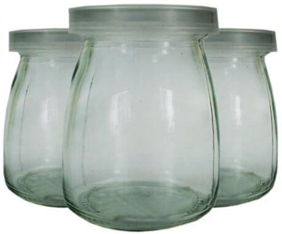 Pote de Vidro com Tampa de Plástico Transparente - 200ml - 6,5x9cm - 01 unidade - Rizzo Embalagens
