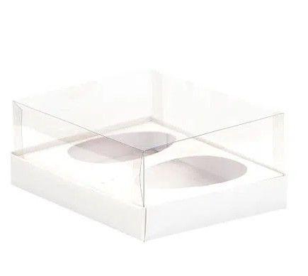 Caixa Ovo de Colher Duplo - Meio Ovo de 250g - 20,5cm x 17cm x 6,5cm - Branca - 5unidades - Assk - Páscoa Rizzo Emb
