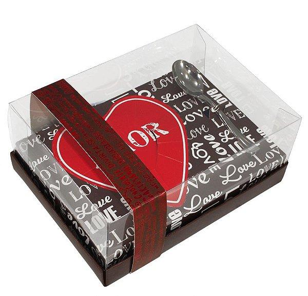 Caixa Coração de Colher 250g - Classic Love Cacau Cód 1701 - 05 unidades - Ideia Embalagens - Rizzo Embalagens