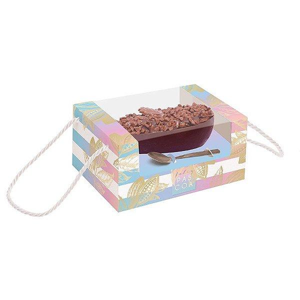 Caixa Alta com Alça para Meio Ovo de 350g - Ombre - 06 unidades - Cromus Páscoa - Rizzo Embalagens