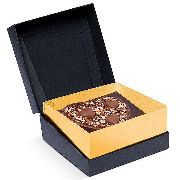Caixa Specialla para Meio Ovo Coração 200g 13x13x6,5cm Ouro e Preto - 06 unidades - Cromus Páscoa - Rizzo Embalagens