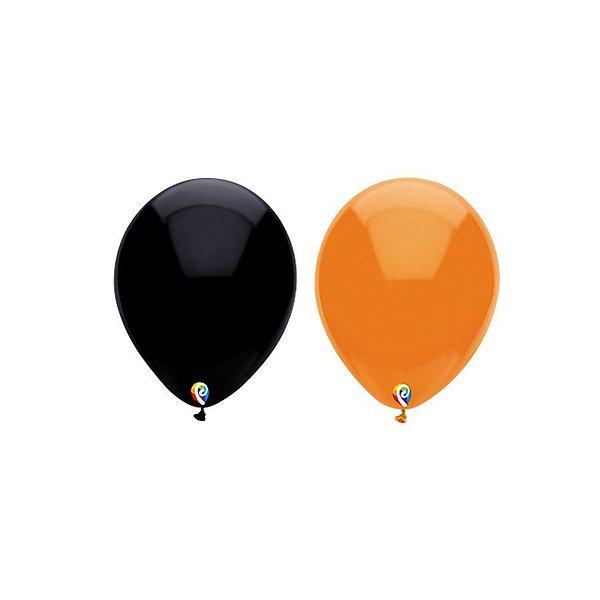 Balão de Festa Látex - Sortido Preto Laranja - Sensacional - Rizzo Embalagens