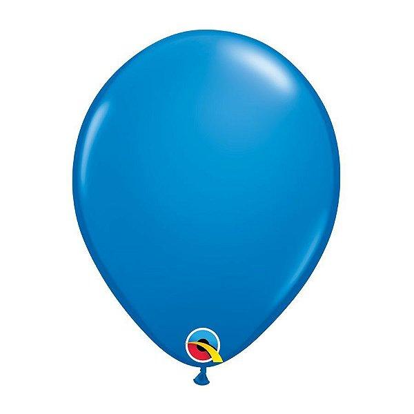 Balão de Festa Látex Liso Sólido - Azul Escuro - Qualatex - Rizzo Embalagens