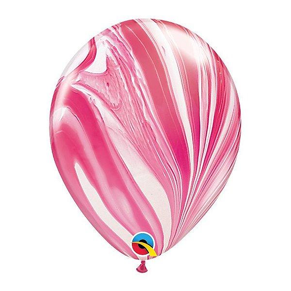 Balão de Festa Látex Superagate - Branco e Vermelho - Qualatex - Rizzo Embalagens