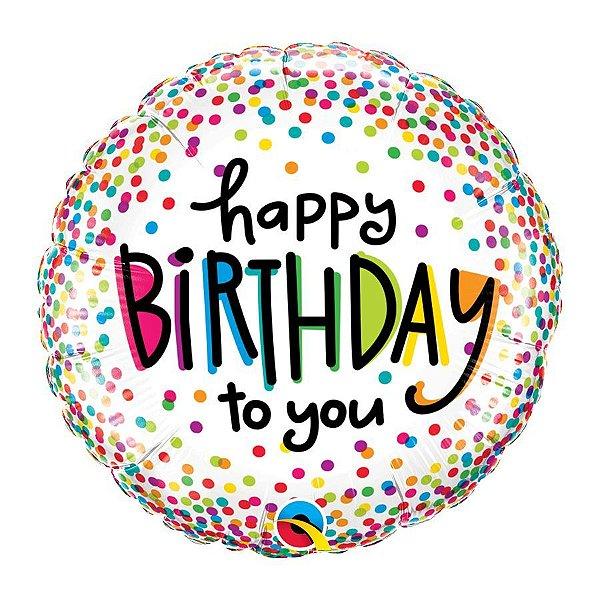 """Balão de Festa 18"""" Redondo - Happy Birthday to You Pontos - 01 Unidade - Qualatex - Rizzo Embalagens"""