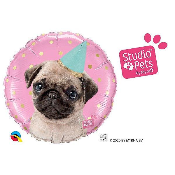 """Balão de Festa 18"""" Redondo - Festa Pug Studio Pets - 01 Unidade - Qualatex - Rizzo Embalagens"""