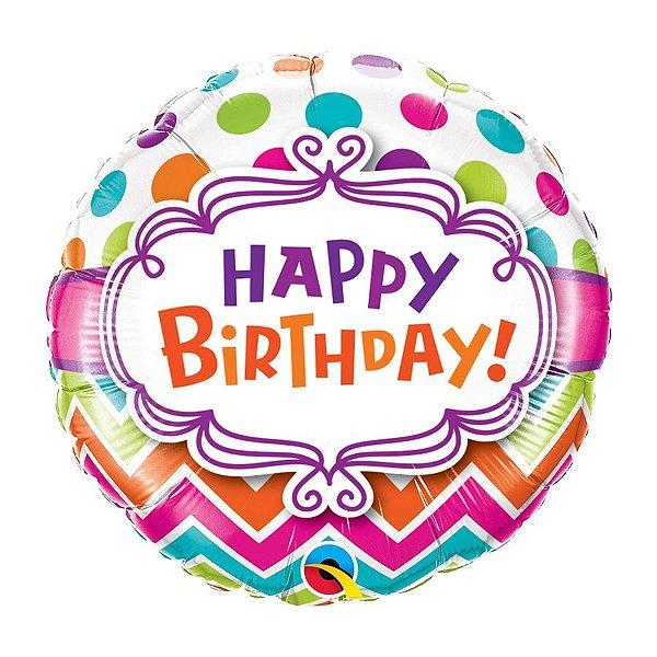 """Balão de Festa 18"""" Redondo - Happy Birhtday listras e pontos - 01 Unidade - Qualatex - Rizzo Embalagens"""