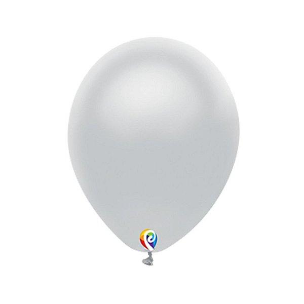 Balão de Festa Látex - Prata - Sensacional - Rizzo Embalagens