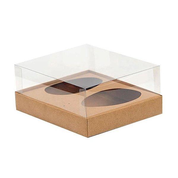 Caixa Ovo de Colher Duplo - Meio Ovo de 250g - 20,5cm x 17cm x 6,5cm - Kraft - 5unidades - Assk - Páscoa Rizzo Emb
