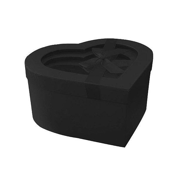 Kit Caixa Papel Rígido Coração Preto Tampa com Visor - 03 Unidades - Rizzo
