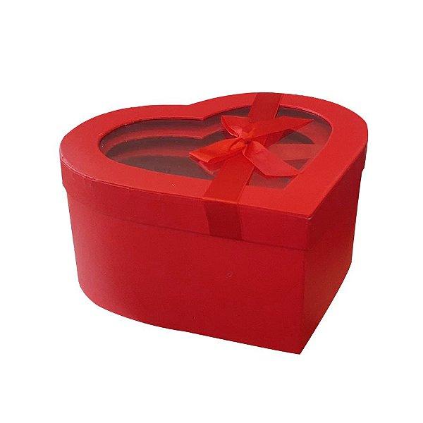 Kit Caixa Papel Rígido Coração Vermelho Tampa com Visor - 03 Unidades - Rizzo