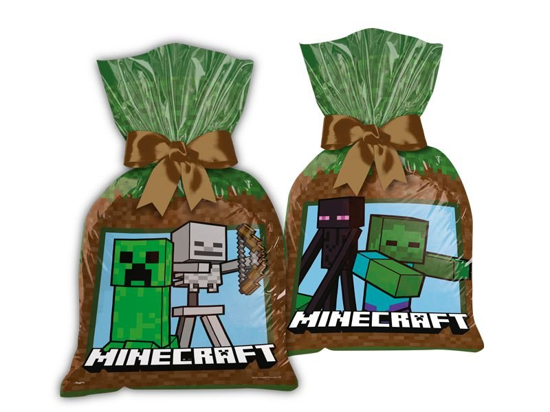 Sacola Plastica Minecraft 12 Unidades - Regina - Rizzo Festas