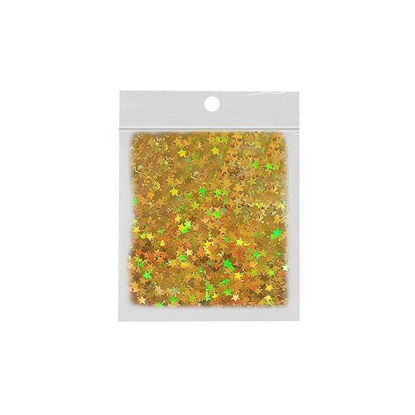 Confete Estrela 10g - Holográfico Dourado - Rizzo Embalagens