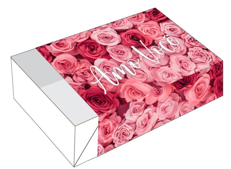 Caixa Divertida Rosas Amo Você Ref. 2279 - 6 doces com 10 un. Erika Melkot Rizzo