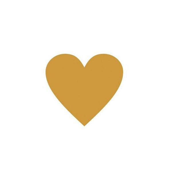 Etiqueta Adesiva Coração Dourado - 100 unidades - Rizzo Embalagens