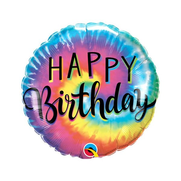 "Balão de Festa Microfoil 18"" - Happy Birthday Tie Dye - 01 Unidade - Qualatex - Rizzo Embalagens"
