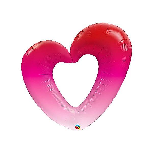 """Balão de Festa Microfoil 42"""" - Shape Rosa Ombre-Coração - 01 Unidade - Qualatex - Rizzo Embalagens"""