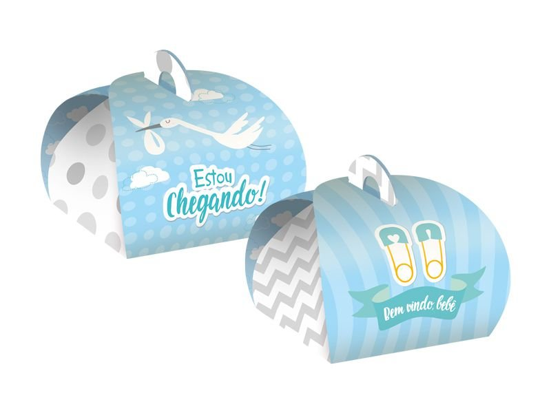Caixa Para Doce Festa Cha de Bebe Menino 08 Unidades - Regina - Rizzo Festas