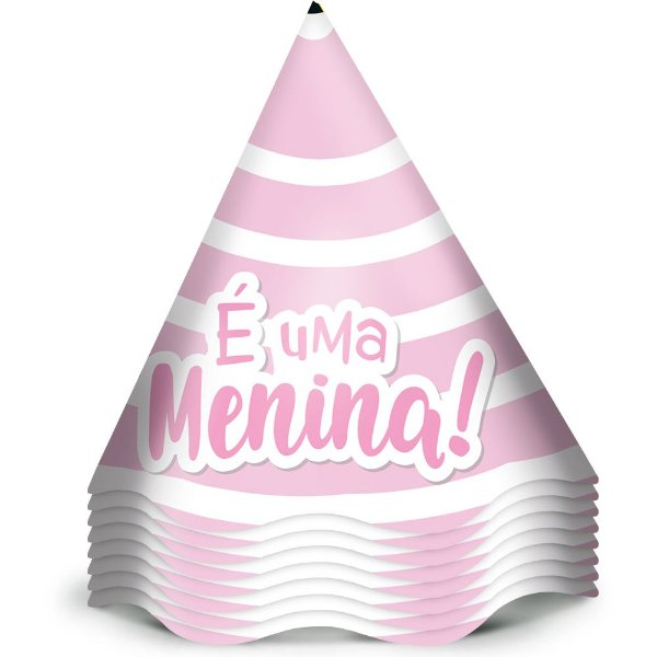Chapeu Aniversario Festa Festa Cha de Bebe Menina 12 Unidades - Regina - Rizzo Festas