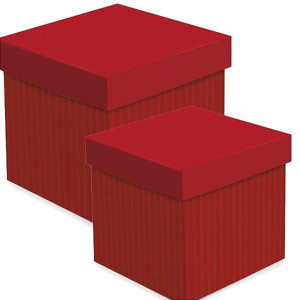 Caixa Cubo com Relevo Vermelho - 01 unidade - Cromus - Rizzo Embalagens