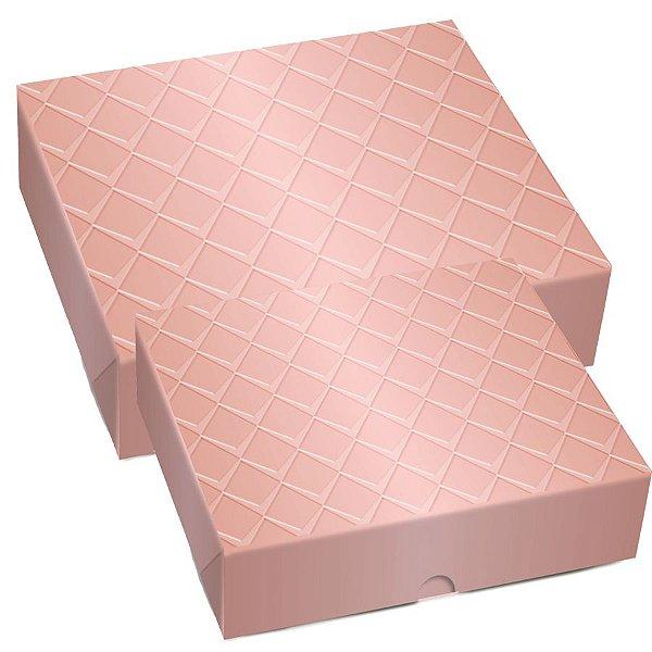 Caixa Retangular Tampa e Fundo - New Rose Gold Relevo - 10 unidades - Cromus - Rizzo Embalagens