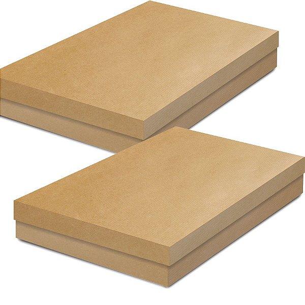Caixa Retangular Baixa Kraft - 01 unidade - Cromus - Rizzo Embalagens