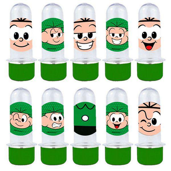 Mini Tubete Lembrancinha Festa Cebolinha - 8cm - 20 unidades - Verde - Rizzo Embalagens e Festas
