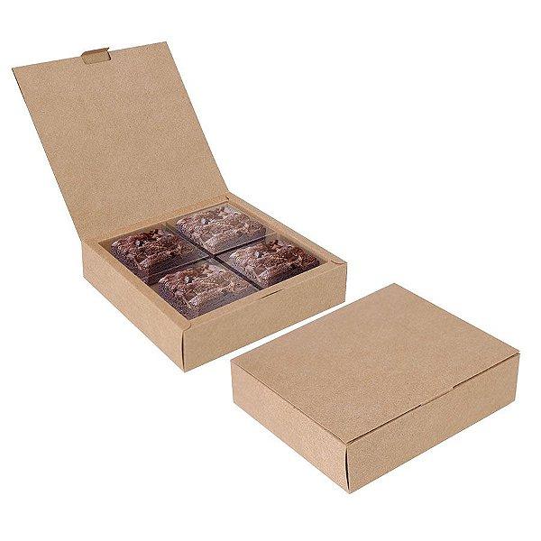 Caixa para 04 Brownies Kraft 17x17x4cm - 10 unidades - Cromus Profissional - Rizzo