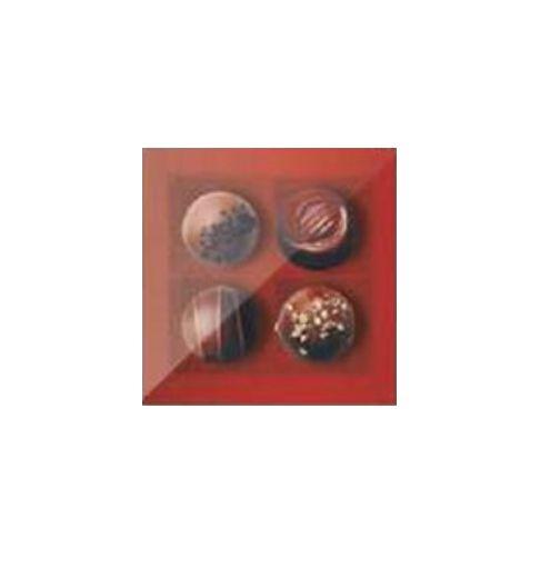 Caixa 4 Doces Quadrada Vermelho com Tampa Cristal - 10 unidades - 9,5x9,5x4cm - Cromus Profissional