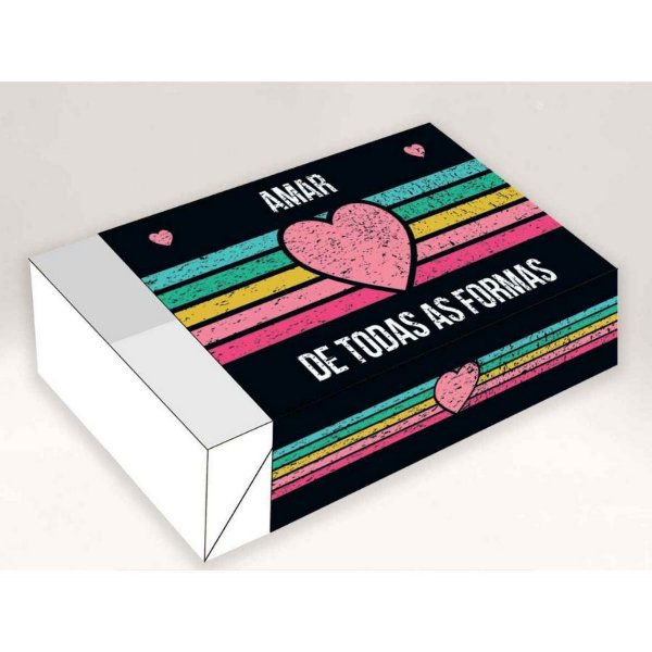 Caixa Divertida Amar de todas as Formas 6 doces - Ref. 1040 - 10 unidades - Erika Melkot Rizzo Embalagens