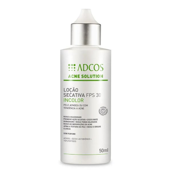 Adcos Acne Solution Loção Secativa FPS30 Incolor 50ml