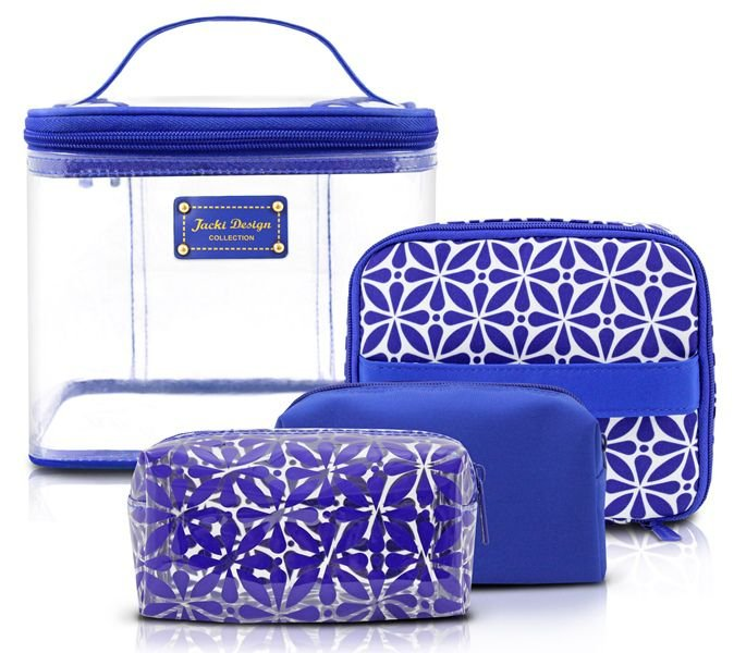 Jacki Design Kit Necessaire 4 Em 1 Geométrica Cor Azul