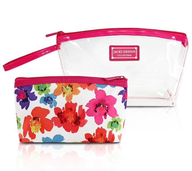 Jacki Design Kit De Necessaire De 2 Peças Cor Pink E Branco