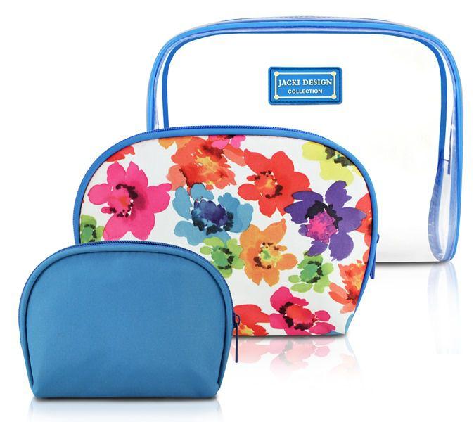 Jacki Design Kit De Necessaire De 3 Peças Cor Azul