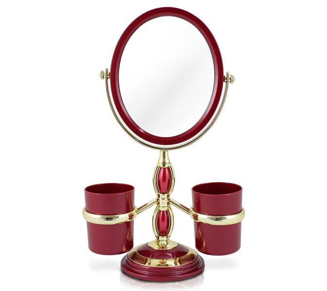 Jacki Design Espelho De Bancada Com Suportes Cor Vermelho