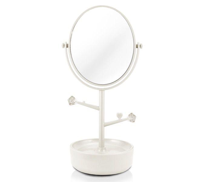 Jacki Design Espelho De Mesa Compartimento Para Jóias Branco
