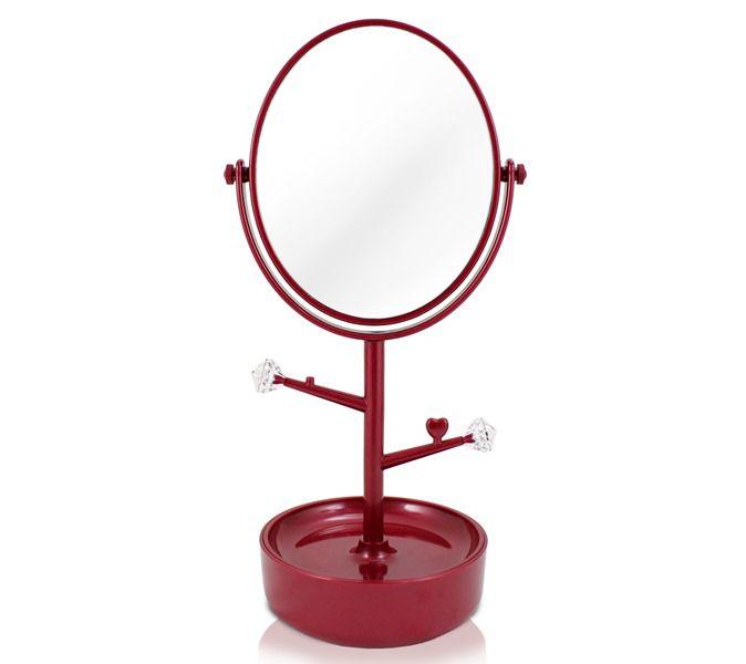 Jacki Design Espelho Com Compartimento Para Jóias Vermelho