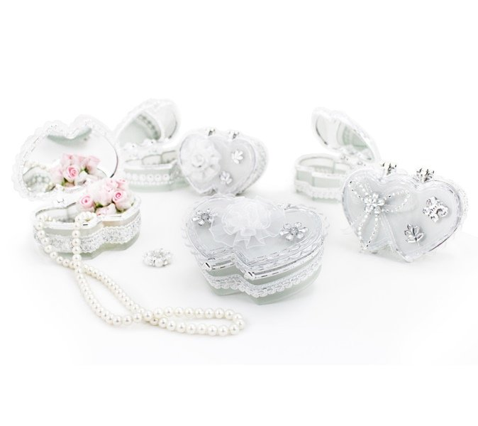 Jacki Design Porta Jóia Duplo Coração Cor Branco